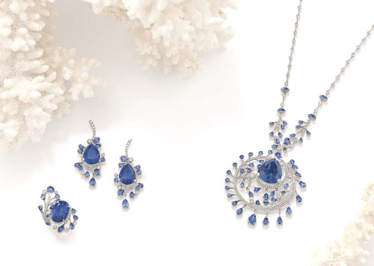 Boodles Ocean of Dreams suite with tanzanite and diamonds, from the new 'Ocean of Dreams' collection.