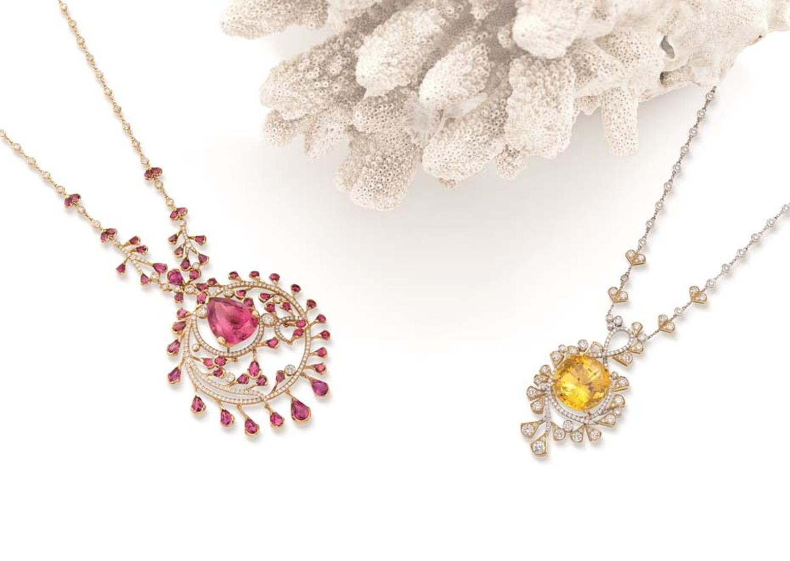 Boodles Ocean of Dreams necklaces with either yellow sapphires and diamonds or pink tourmalines encircled by rubellites and diamonds, from the new 'Ocean of Dreams' collection.