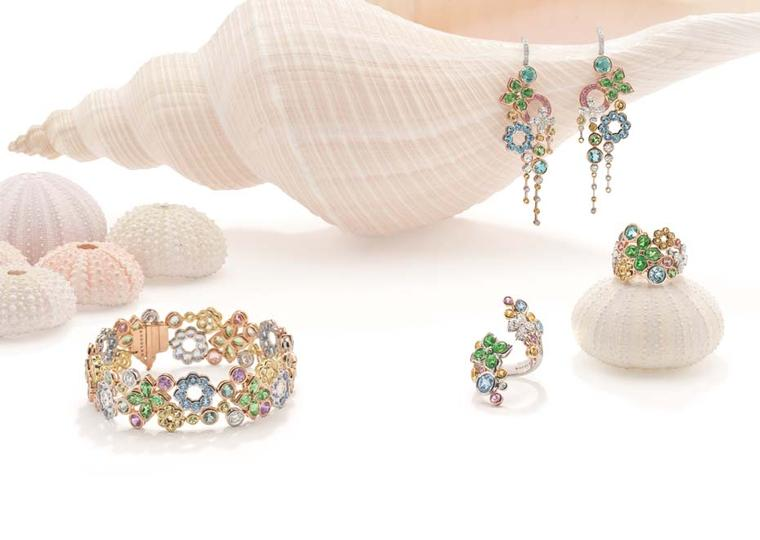 Boodles Pastel Reef suite with aquamarines, tsavorites, pink and yellow sapphires, and green and yellow beryls, from the new 'Ocean of Dreams' collection.