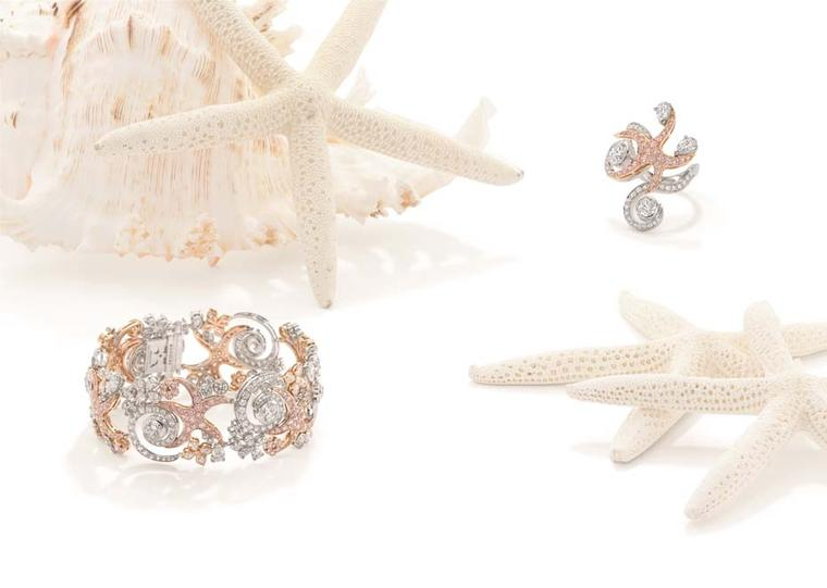 Boodles Sea Star bracelet and ring with white and pink diamonds, from the new 'Ocean of Dreams' collection.