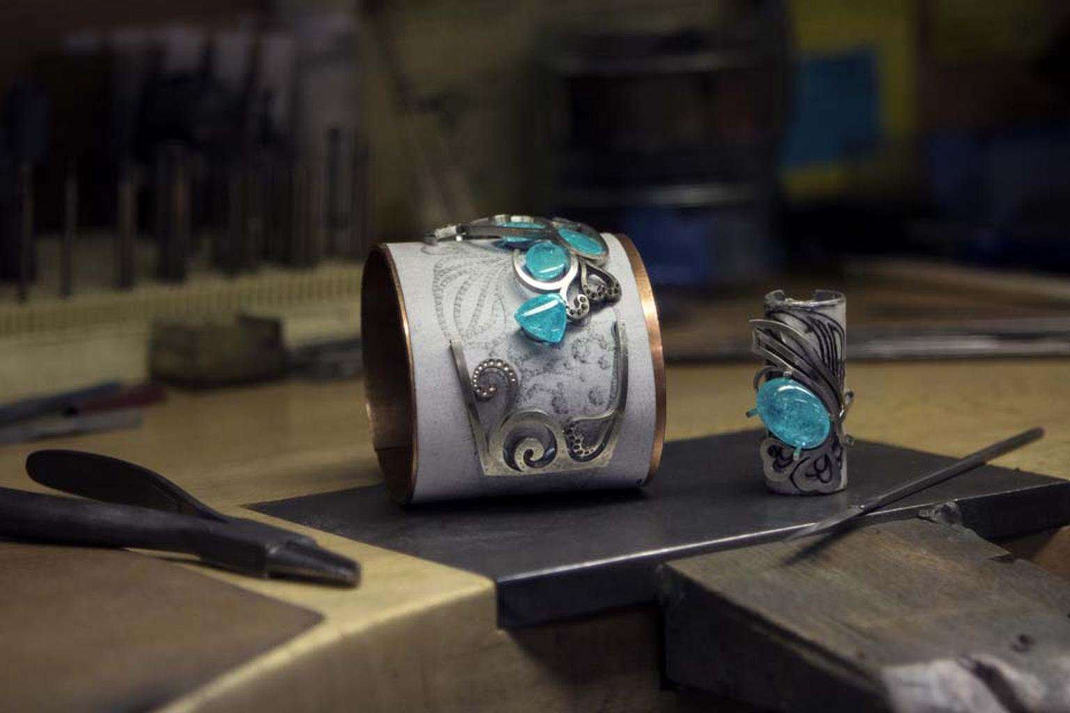 The Atlantic Blue cuff begins to take shape in Boodles' London workshop.