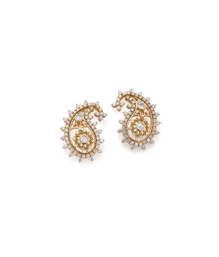 Ganjam's Paisley collection gold earrings studded with diamonds.