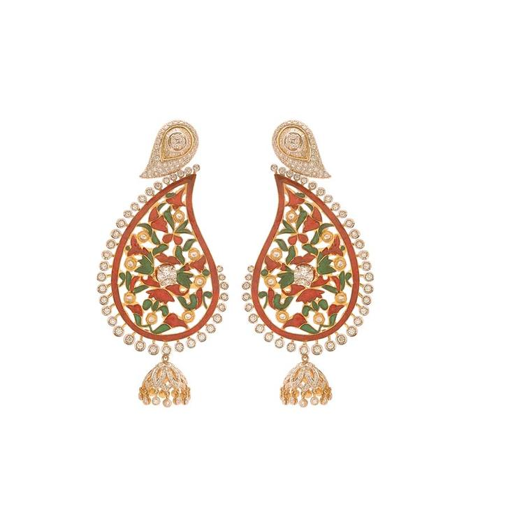 Anmol Paisley enamelled earrings set with baguette, princess, marquise and round brilliant diamonds.