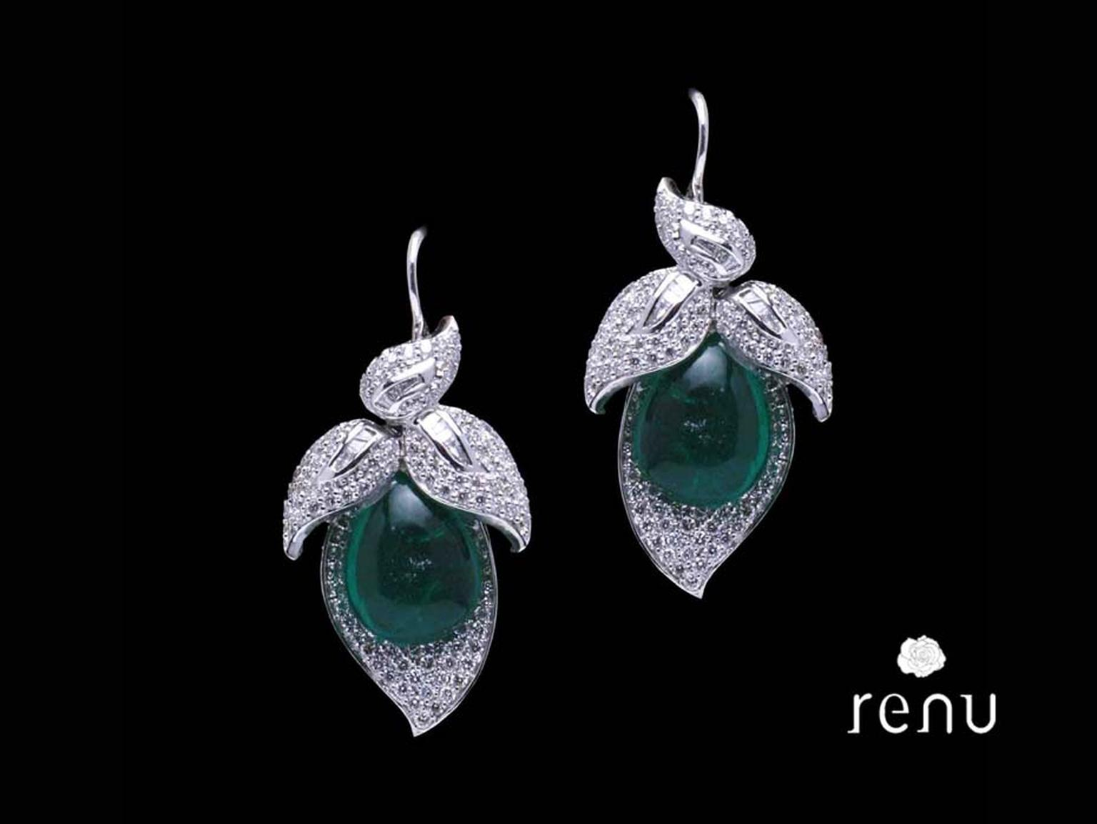 Mahesh Notandas paisley-shaped Leaf earrings studded with diamonds and cabochon emeralds.