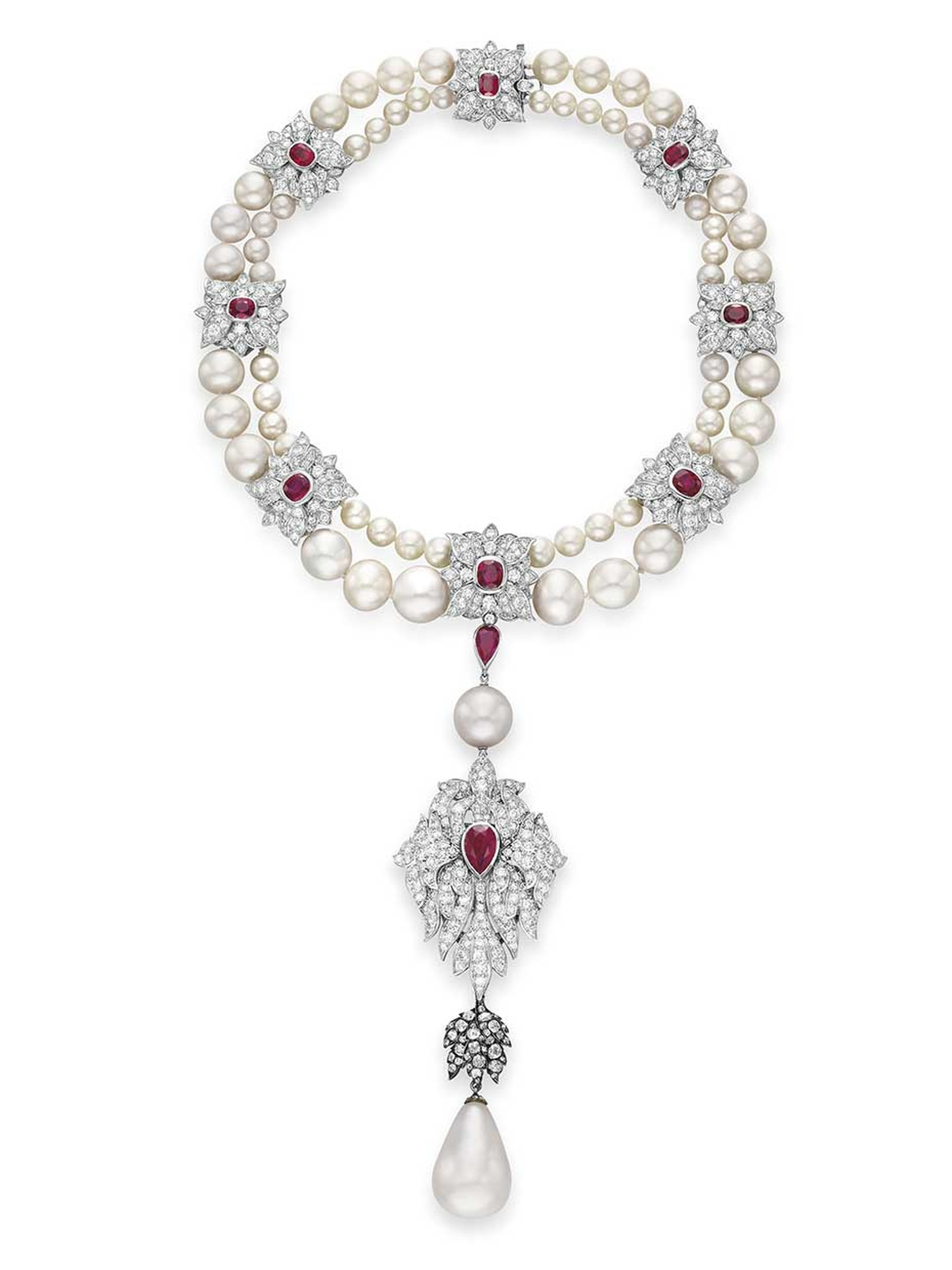 The pearl necklace with rubies and diamonds starring the 16th century pear-shaped La Peregrina pearl, redesigned by Cartier for Elizabeth Taylor. It sold at Christie's sale of Taylor's jewels in 2011 for $11,842,500.