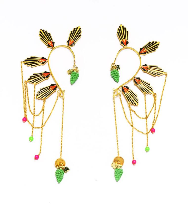 Manish Arora for Amrapali Emon enamelled ear cuffs with Swarovski pearl beads.