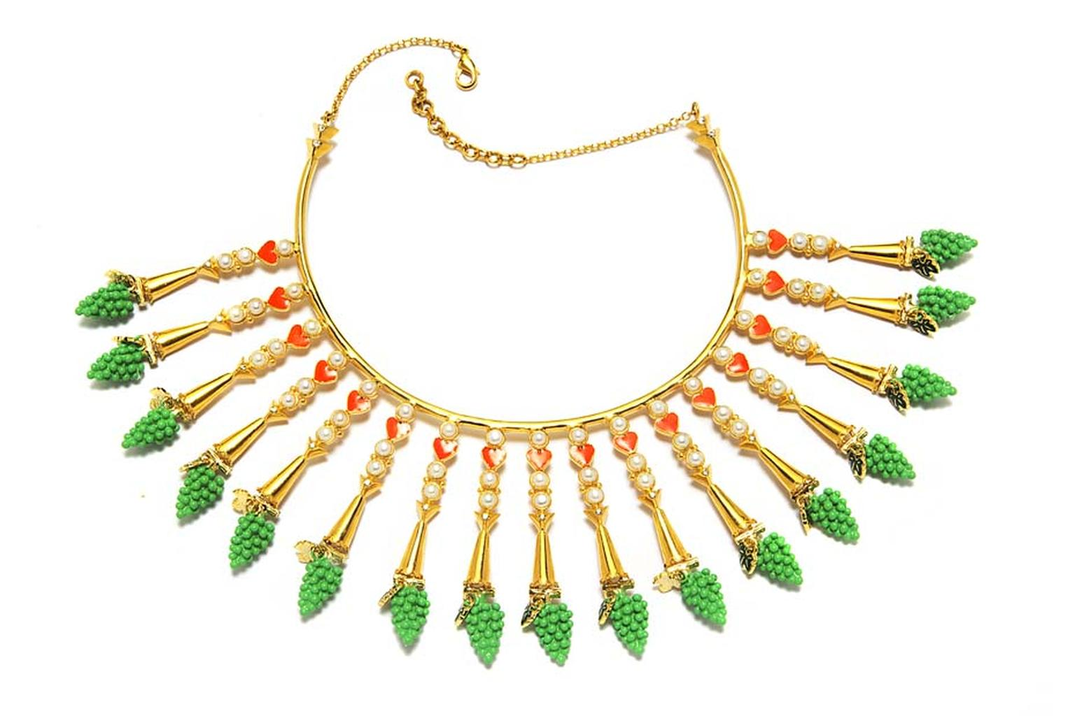 Manish Arora for Amrapali Naho enamelled necklace with Swarovski pearl beads.