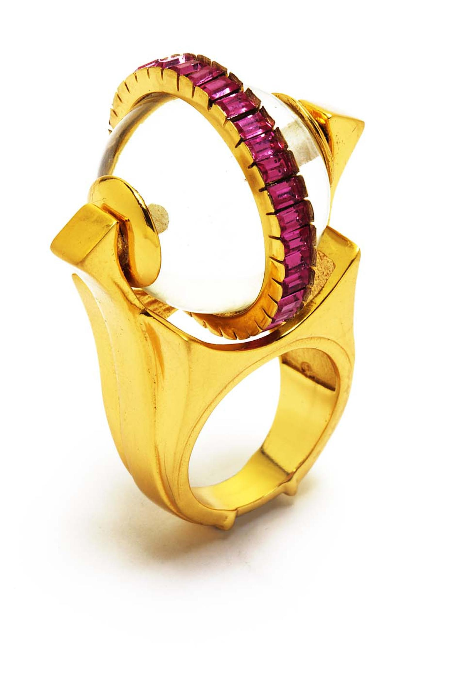 Manish Arora for Amrapali Rosa enamelled ring with Swarovski crystals.