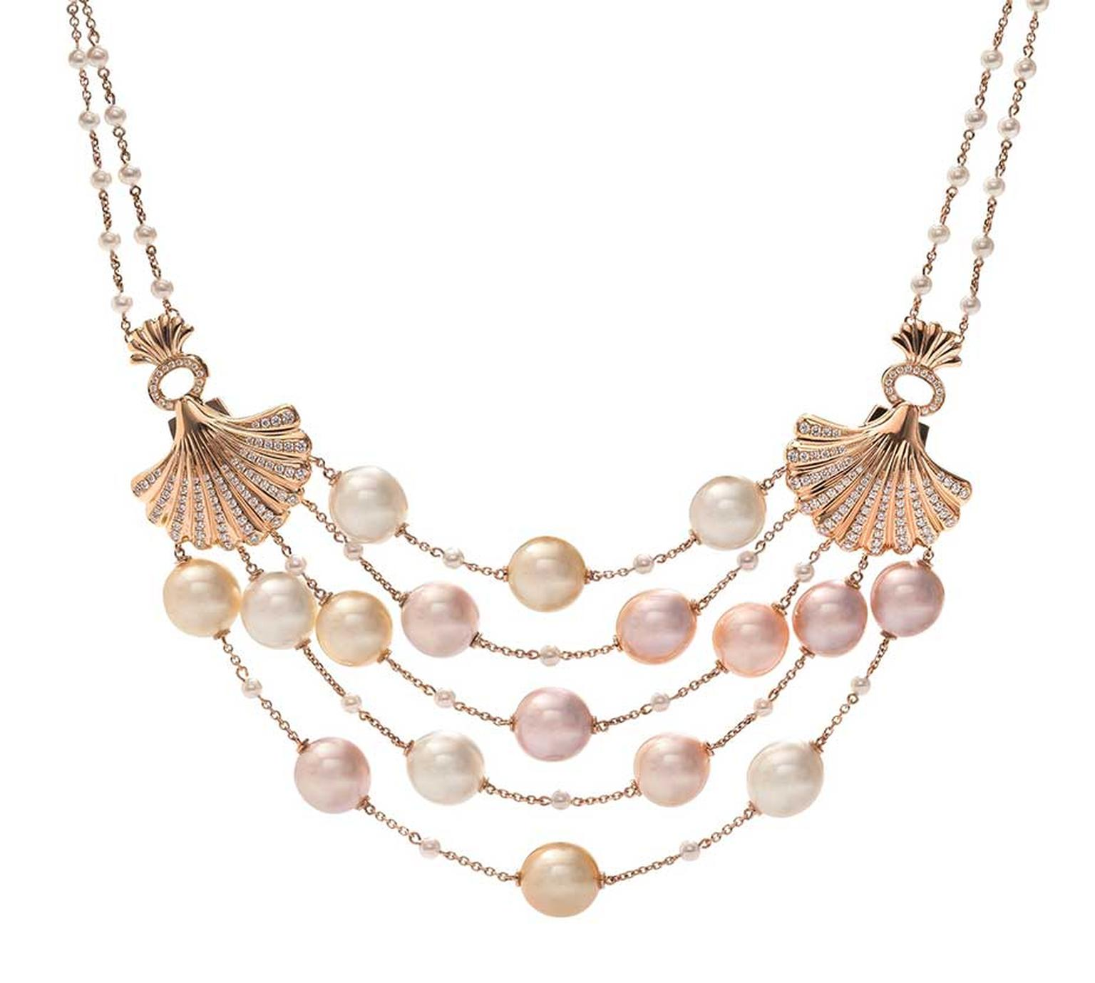 Boodles Deep Sea Treasure necklace with pink South Sea and freshwater pearls strung in rows between golden shells.