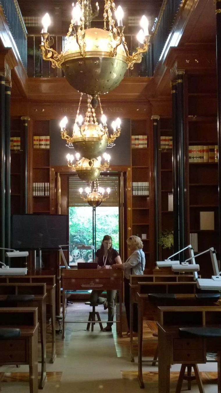 The impressive wood-panelled library in the Palacete Miguel Ángel, which has been taken over by Jaeger-LeCoultre to host courses on watchmaking and enamelling.