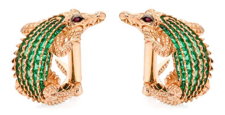 Tomasz Donocik Crocodile cufflinks in rose gold with emeralds and rubies.