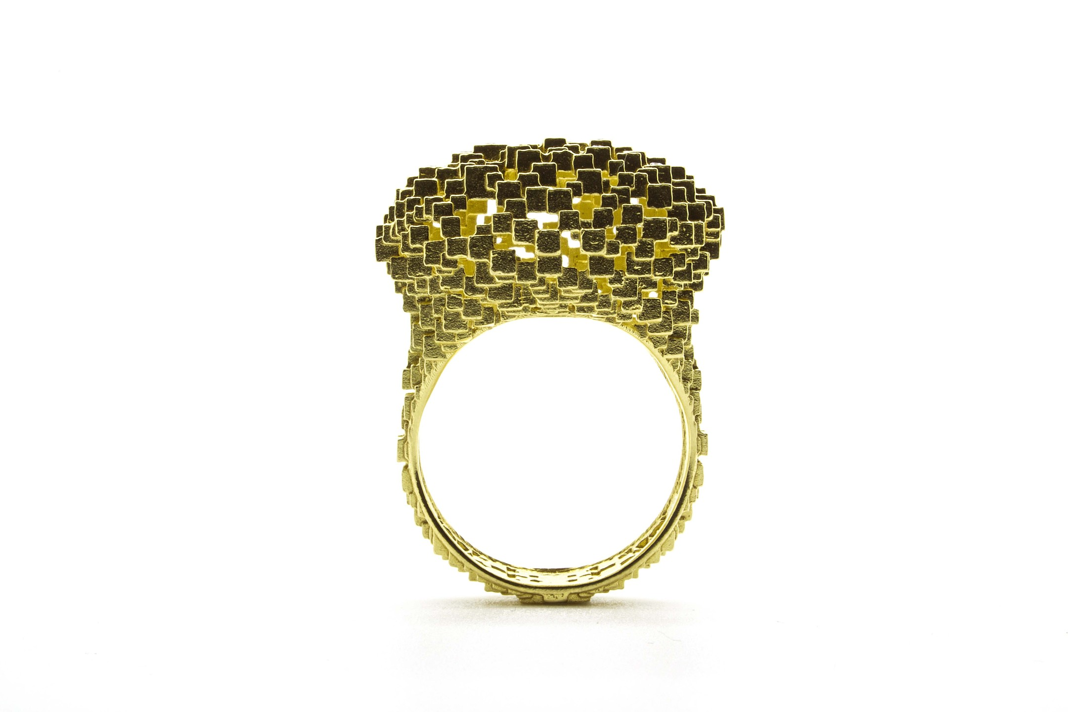 Jo Hayes Ward Cushion ring in yellow gold.