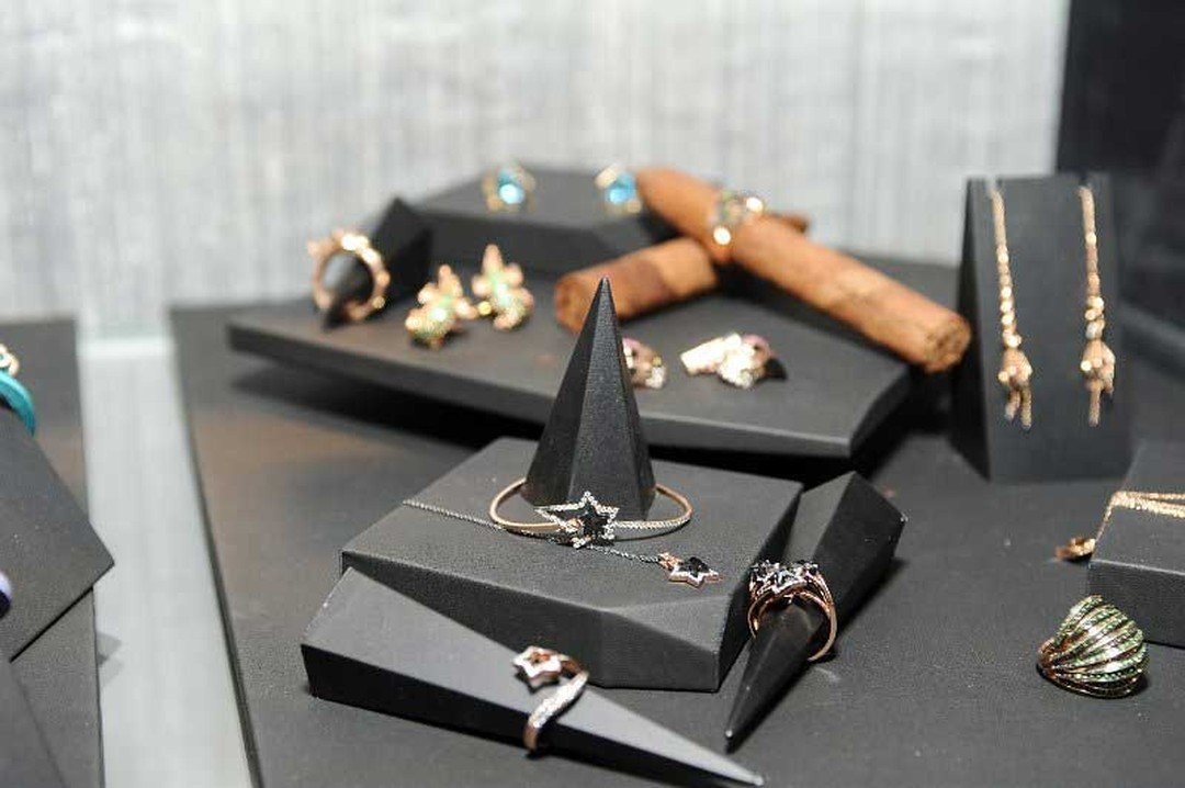 Tomasz Donocik's jewels on display at the Rock Vault pop-up boutique at Stephen Webster's LA boutique.