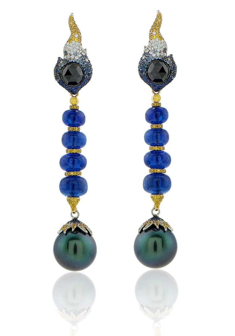 Alessio Boschi Stardust convertible Tahitian pearl earrings with blue tanzanite beads, which can be detached and worn in different ways.