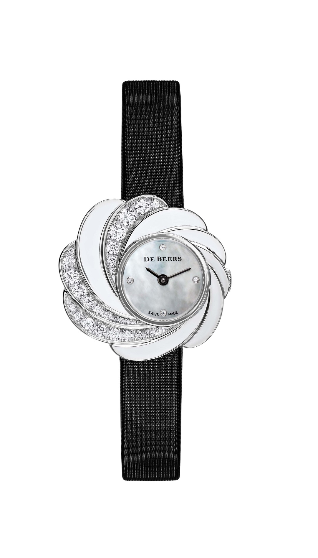 De Beers Aria diamond watch set with 0.91ct round brilliant diamonds in white gold, with a white mother-of-pearl dial and black satin strap (£15,800).