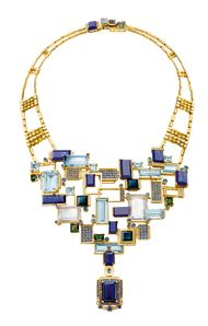 Chow Tai Fook's Reflections of Siem Halcyon necklace, with emerald-cut aquamarines, lapis lazuli, tourmalines and blue sapphires mounted to resemble the floating villages on Lake Tonlé Sap, forms part of the Chinese jeweller's fourth annual collection of