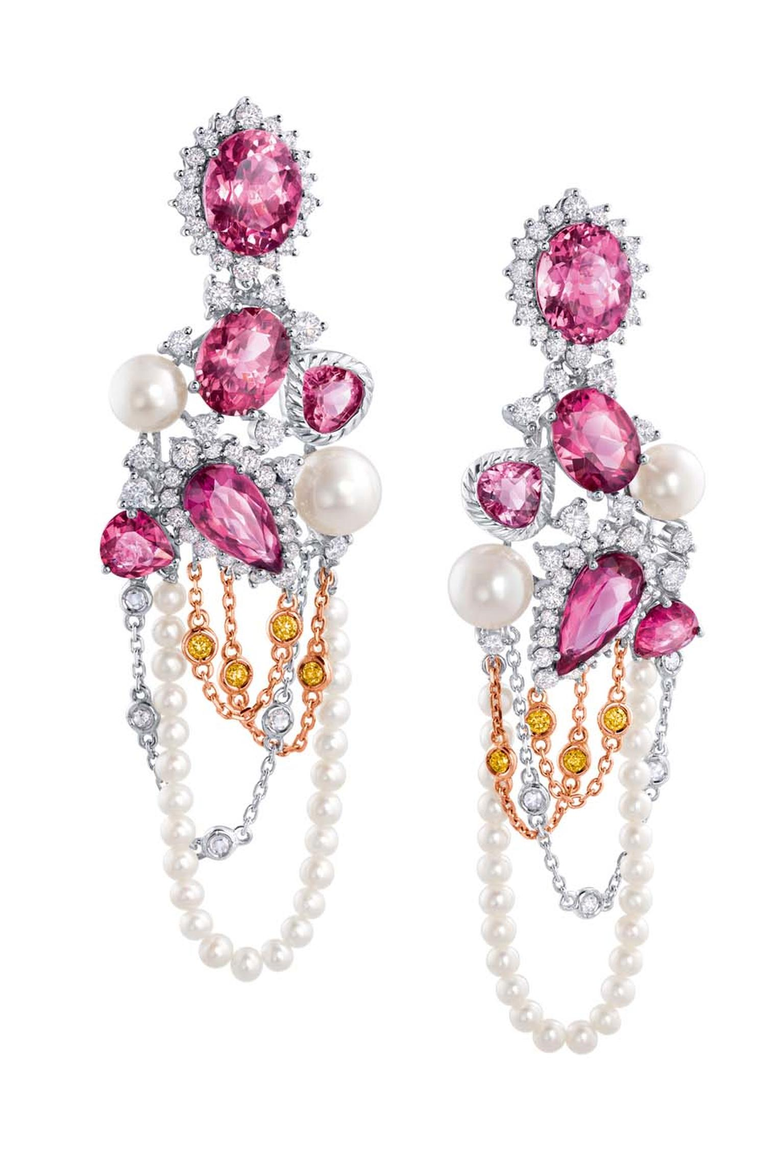 Chow Tai Fook Reflections of Siem Zephyr earrings with pink diamonds, pearls and purple and red tourmalines.