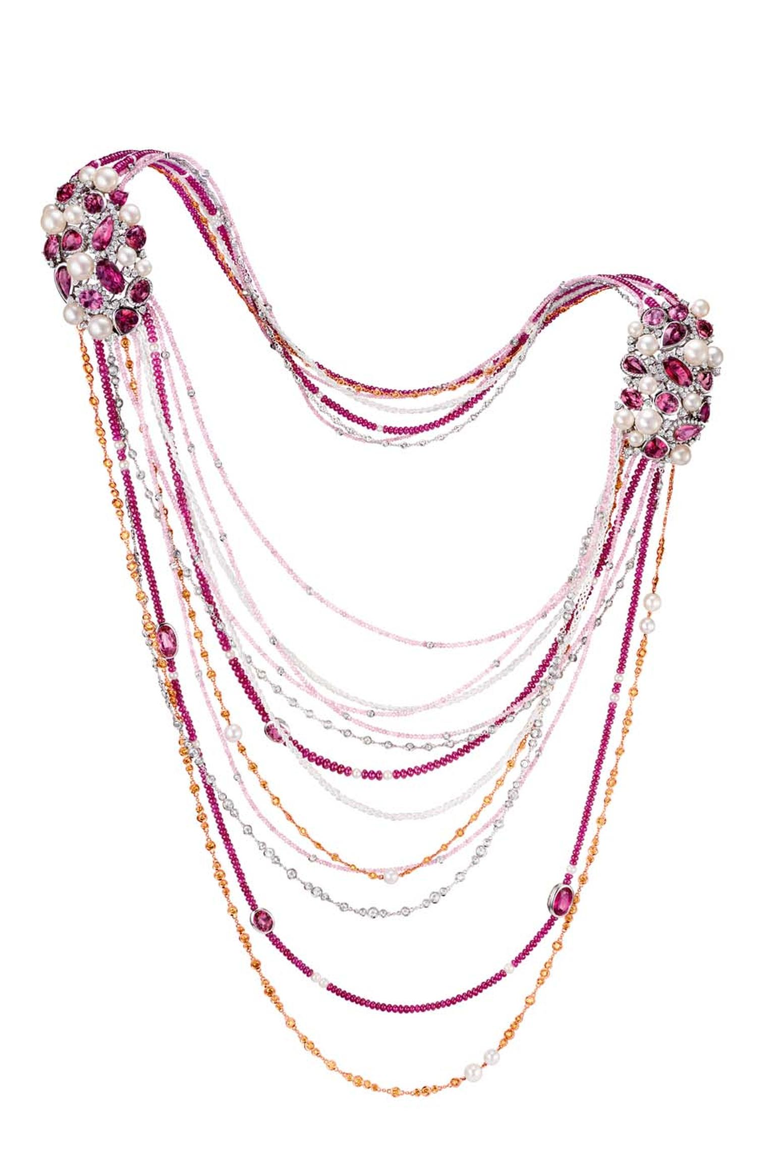 Chow Tai Fook Reflections of Siem Zephyr necklace, inspired by the Cambodian sunset, with pink diamonds, pearls and purple and red tourmalines.