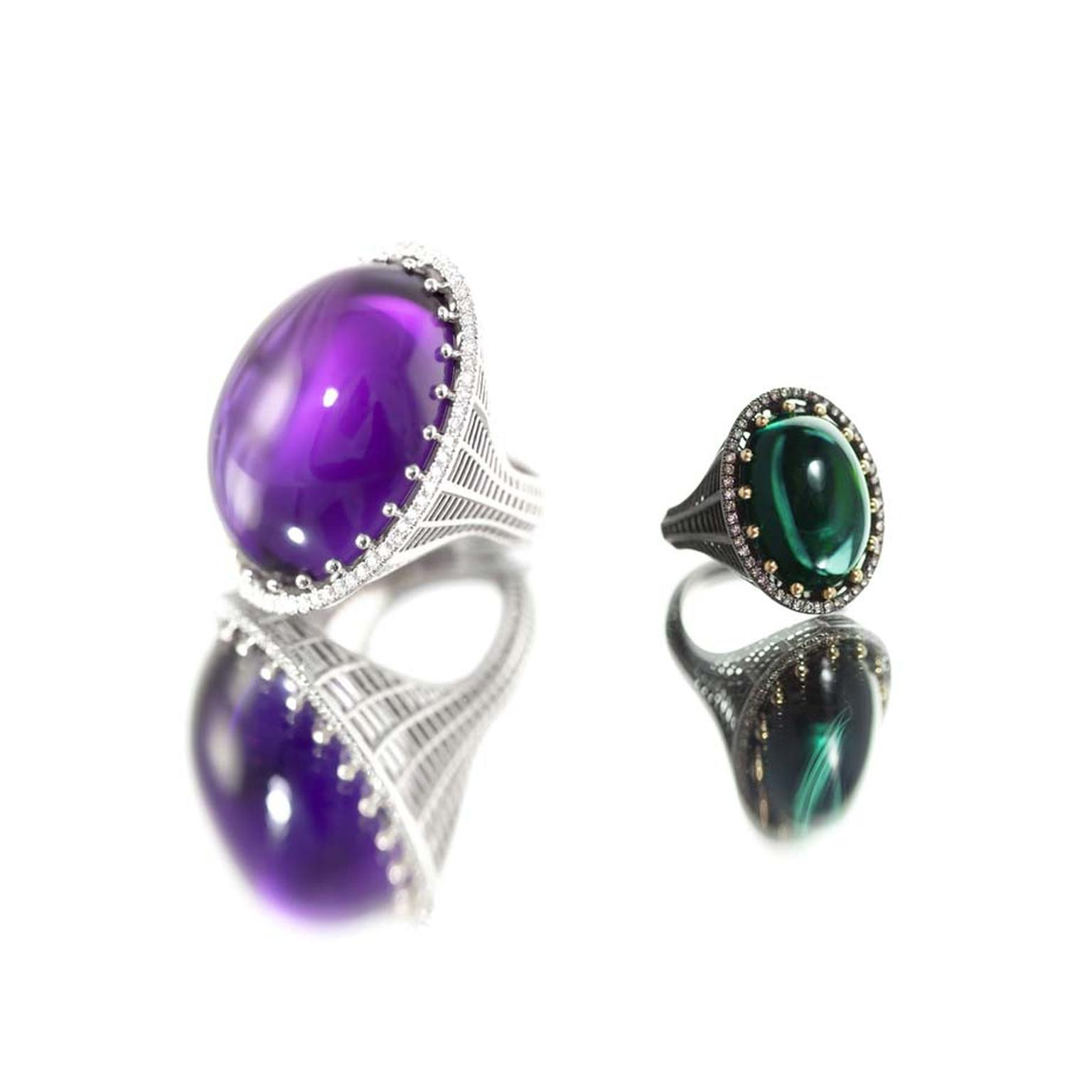 Roule & Co Cab cocktail rings in white gold with amethyst and white diamonds (left) or blackened yellow gold with green tourmaline and champagne diamonds (right).