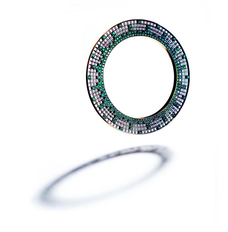 Roule & Co Halo bangle with emeralds in blackened gold.