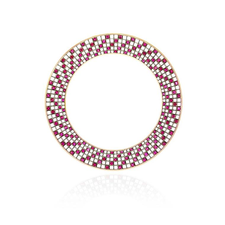 Roule & Co Spiral Halo bangle with rubies in blackened gold.
