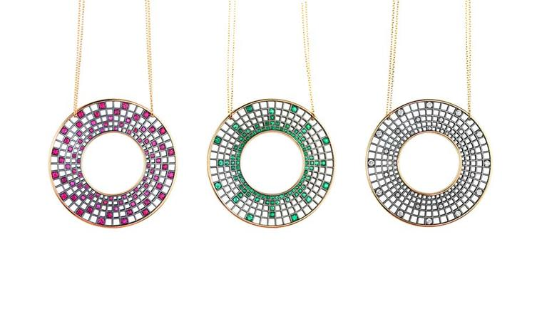 Roule & Co Halo pendants with either rubies, emeralds or white diamonds.