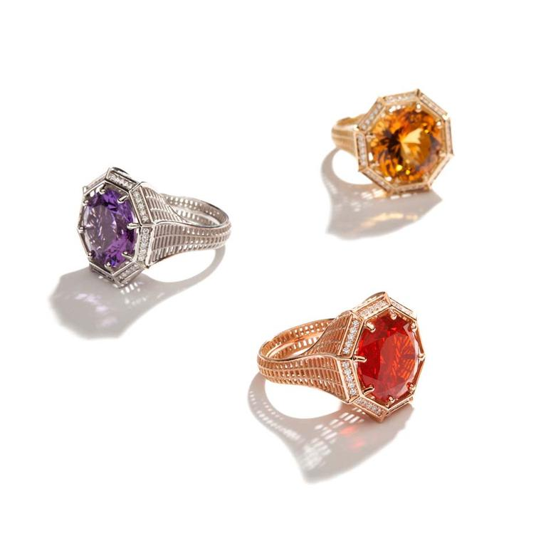 Roule & Co Octagon cocktail rings in platinum with amethyst and white diamonds, left; yellow gold with citrine and white diamonds, top; rose gold, ?re opal and white diamonds, below.