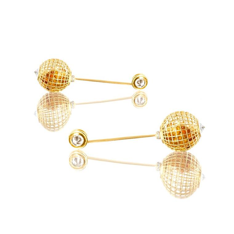 Roule & Co Shaker Bar Globe earrings in yellow gold, with citrines, white sapphires and white diamonds.
