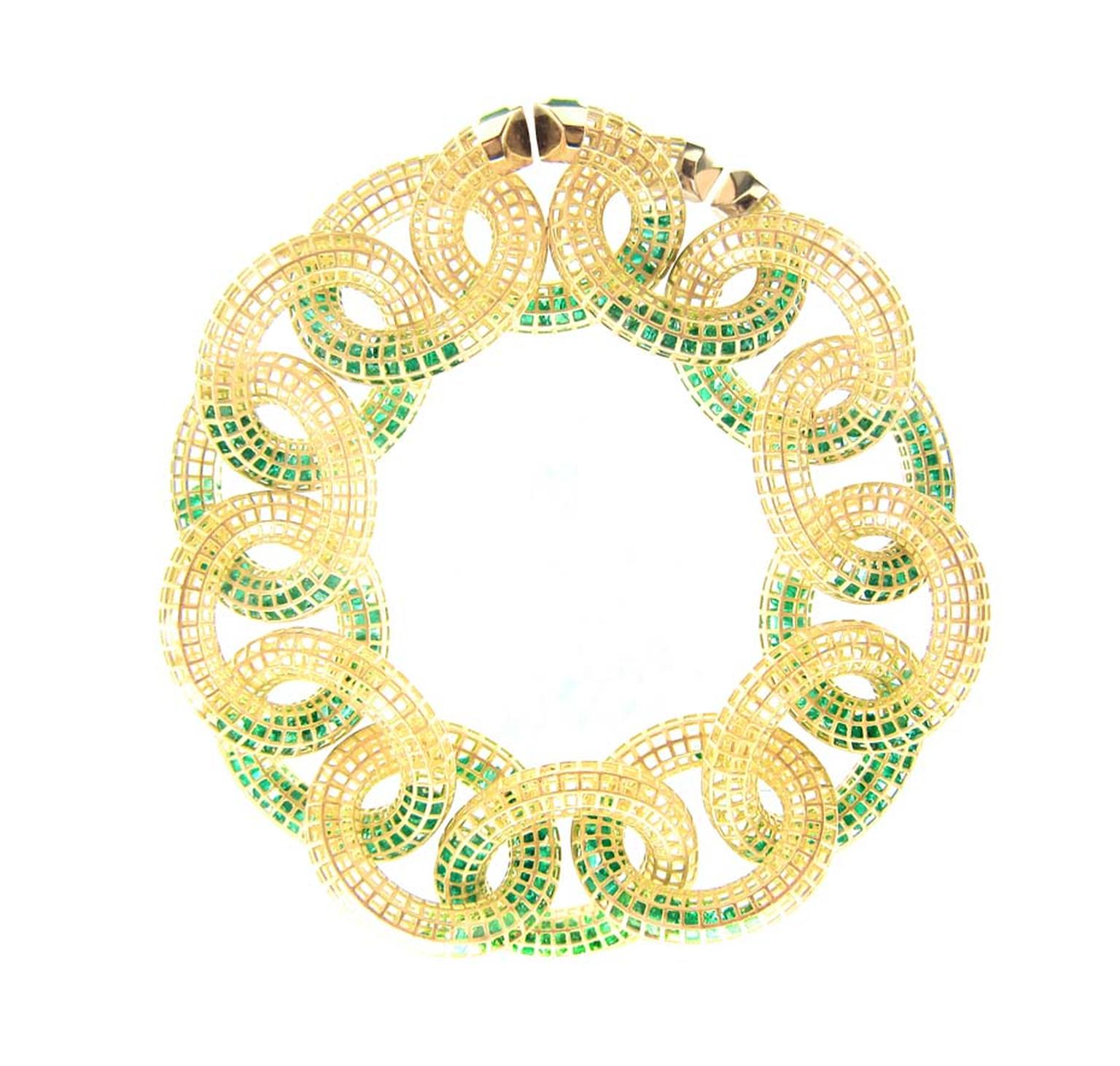 Roule & Co Shaker chainlink bracelet in yellow gold and emeralds.