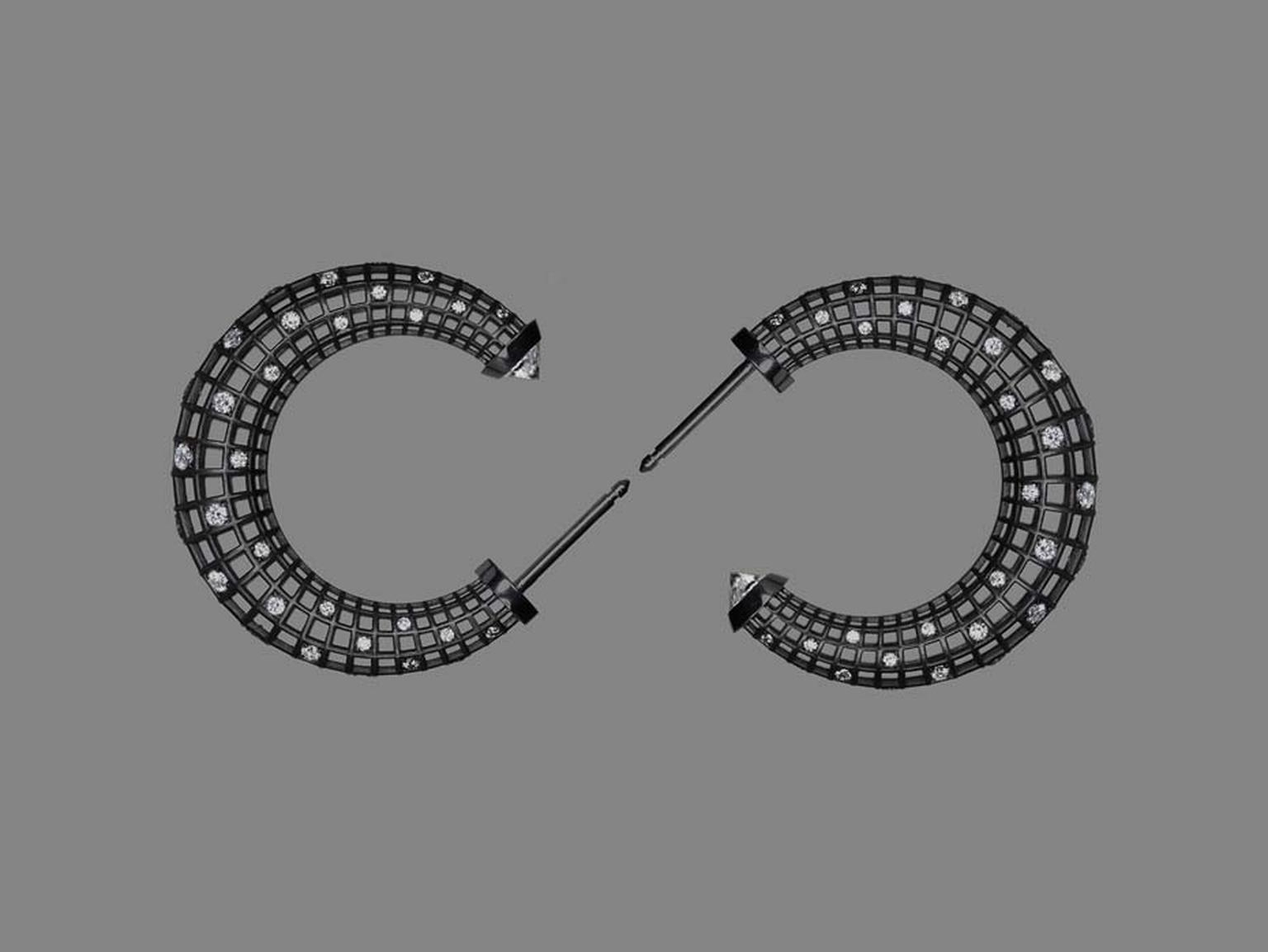 Roule & Co Star Dust Crescent hoop earrings in blackened gold with white diamonds and white sapphires.