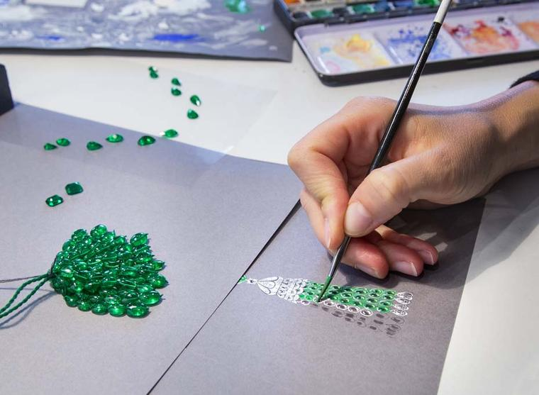 The Graff jewellery design process for each piece to be showcased at the Paris Biennale 2014 begins with detailed sketches.