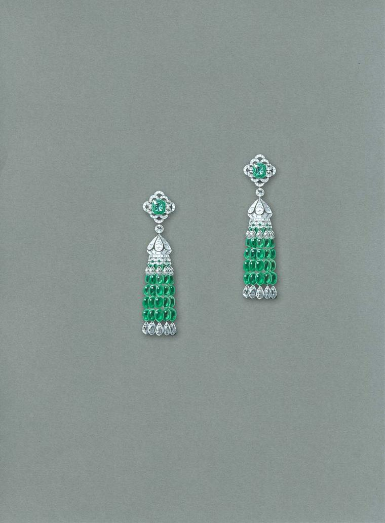 Graff jewellery tassel earrings with emeralds and diamonds.