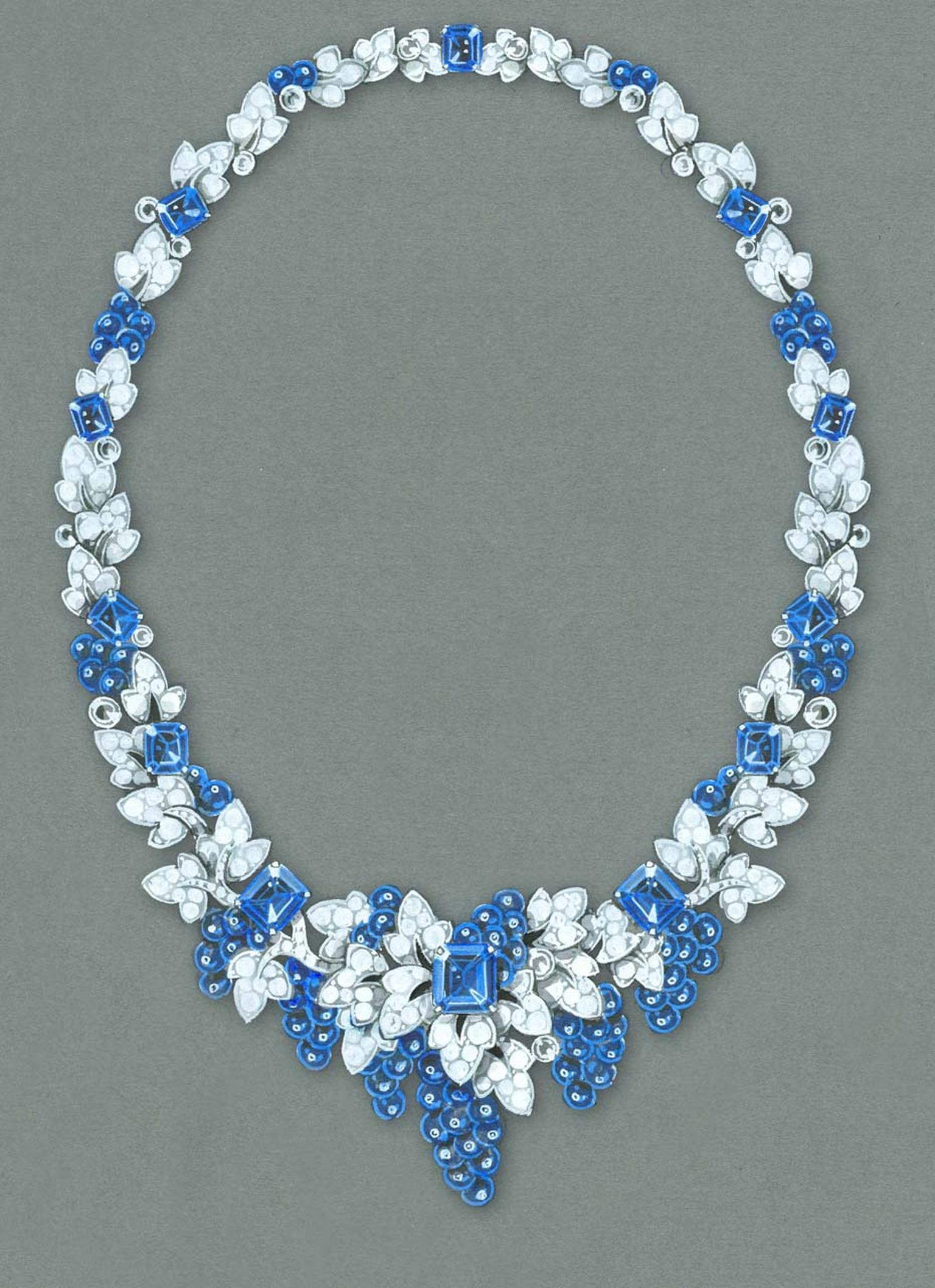 After a 12-year absence, Graff is returning to the Biennale in 2014 with a collection of one-off jewels, including this nature-inspired sapphire and diamond necklace, created especially for the occasion.