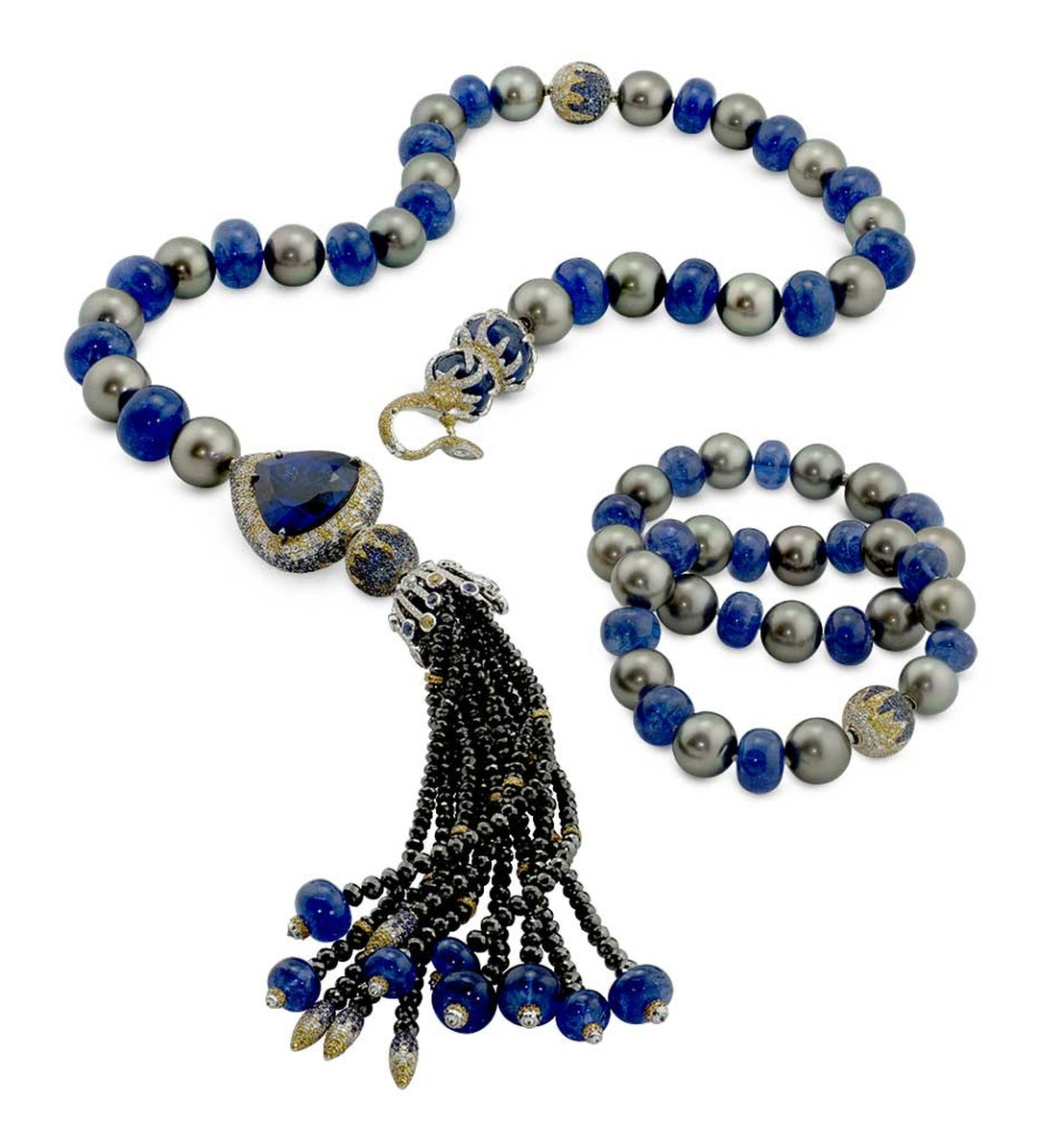 Alessio Boschi's Stardust pearl necklace, with Tahitian pearls, tanzanite beads, diamonds and sapphires. white and yellow diamonds, and blue and purple sapphires. It can be worn as a long lariat necklace or two necklaces and two bracelets, with or without