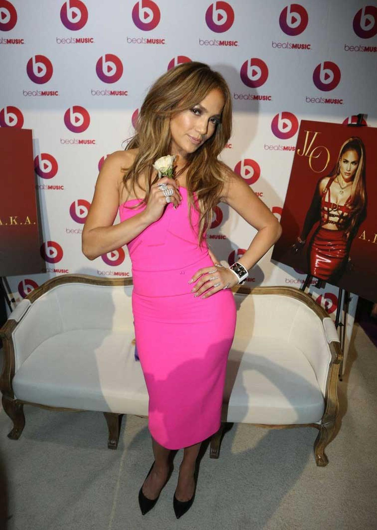 On Tuesday, J.Lo attended the launch party of her new album, A.K.A., in NYC wearing a diamond Carla Amorim ring.