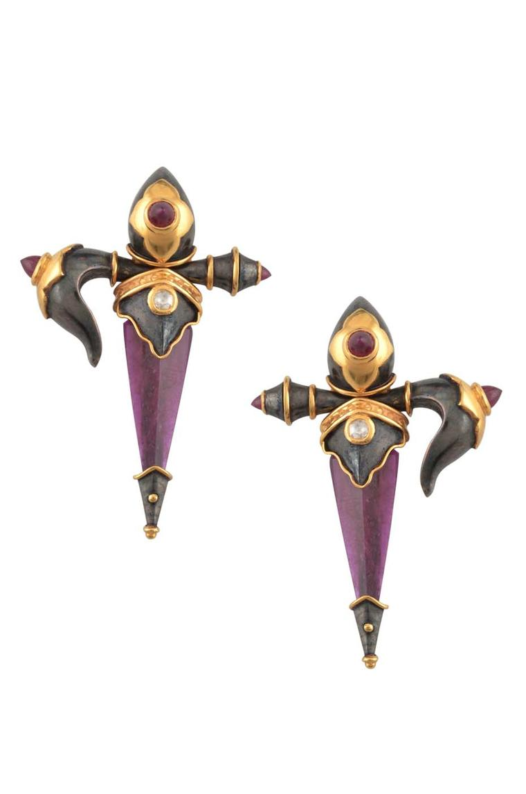 Amrapali Dark Maharaja Dagger earrings in silver and gold with rubies and diamonds.