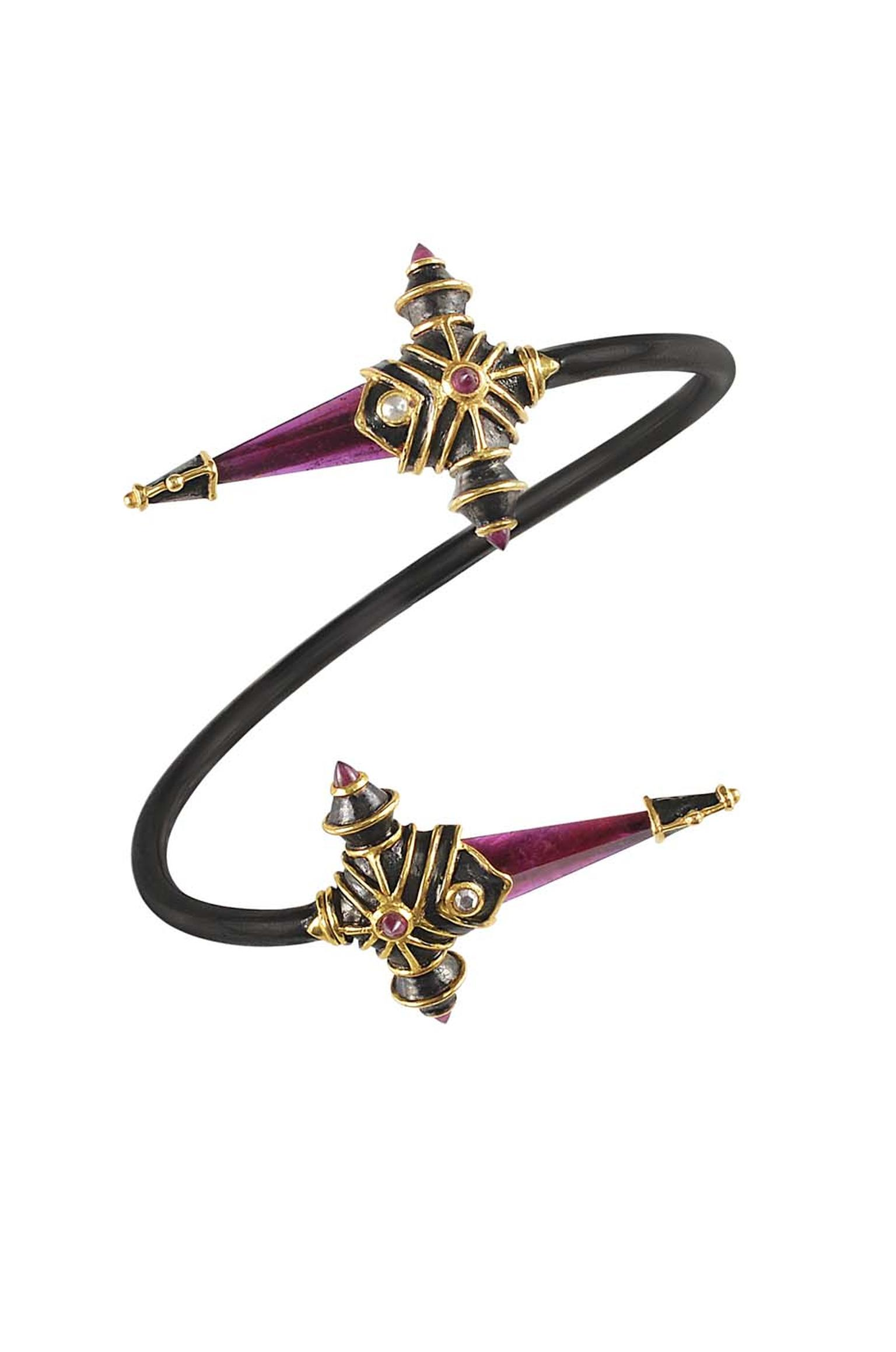 Amrapali Dark Maharaja Sword Bypass bangle in silver and gold with rubies and diamonds.