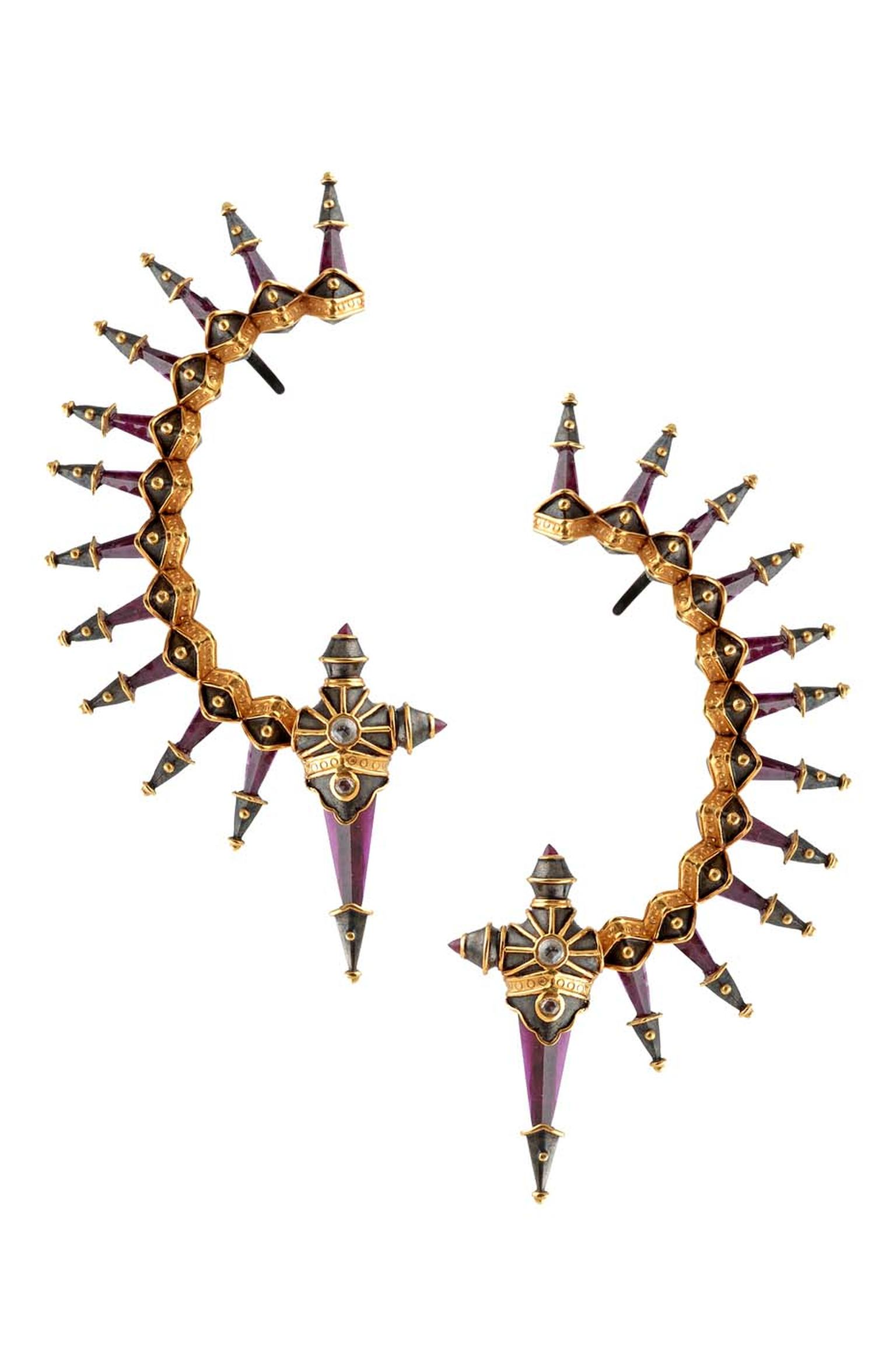 Amrapali Dark Maharaja Warrior's Sword ear cuffs in silver and gold with diamonds.