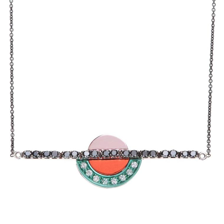 Nikos Koulis necklace, from the new Acrobat collection, in black rhodium, with white and black diamonds and white gold hand-painted in pink, orange and turquoise.