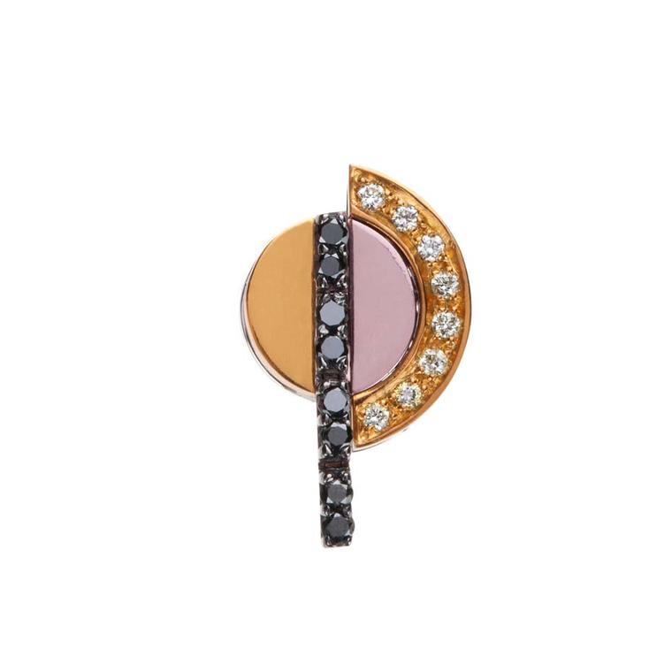 Nikos Koulis earring, from the Acrobat collection, in black rhodium, with white and black diamonds and white gold hand-painted in yellow and pink.