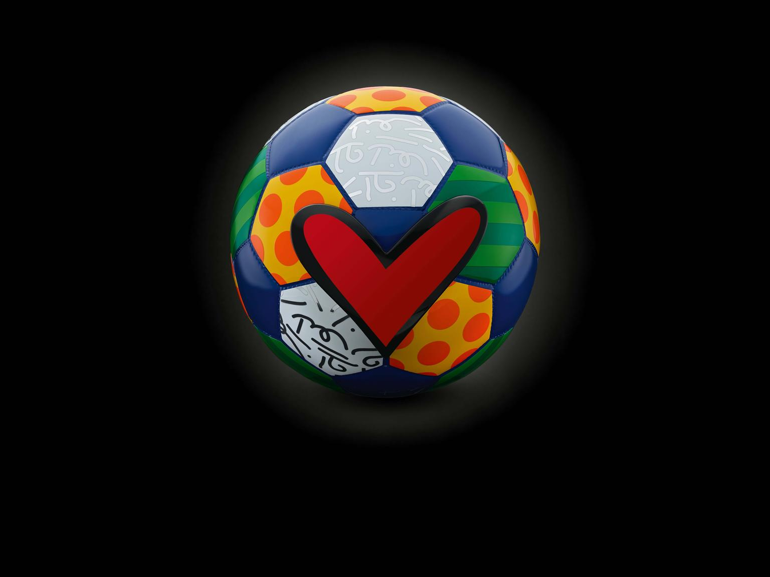 "The special-edition football that reappears throughout the Swiss watchmaker's global ""Hublot Loves Football"" campaign was designed by the famous Brazilian artist Romero Britto."
