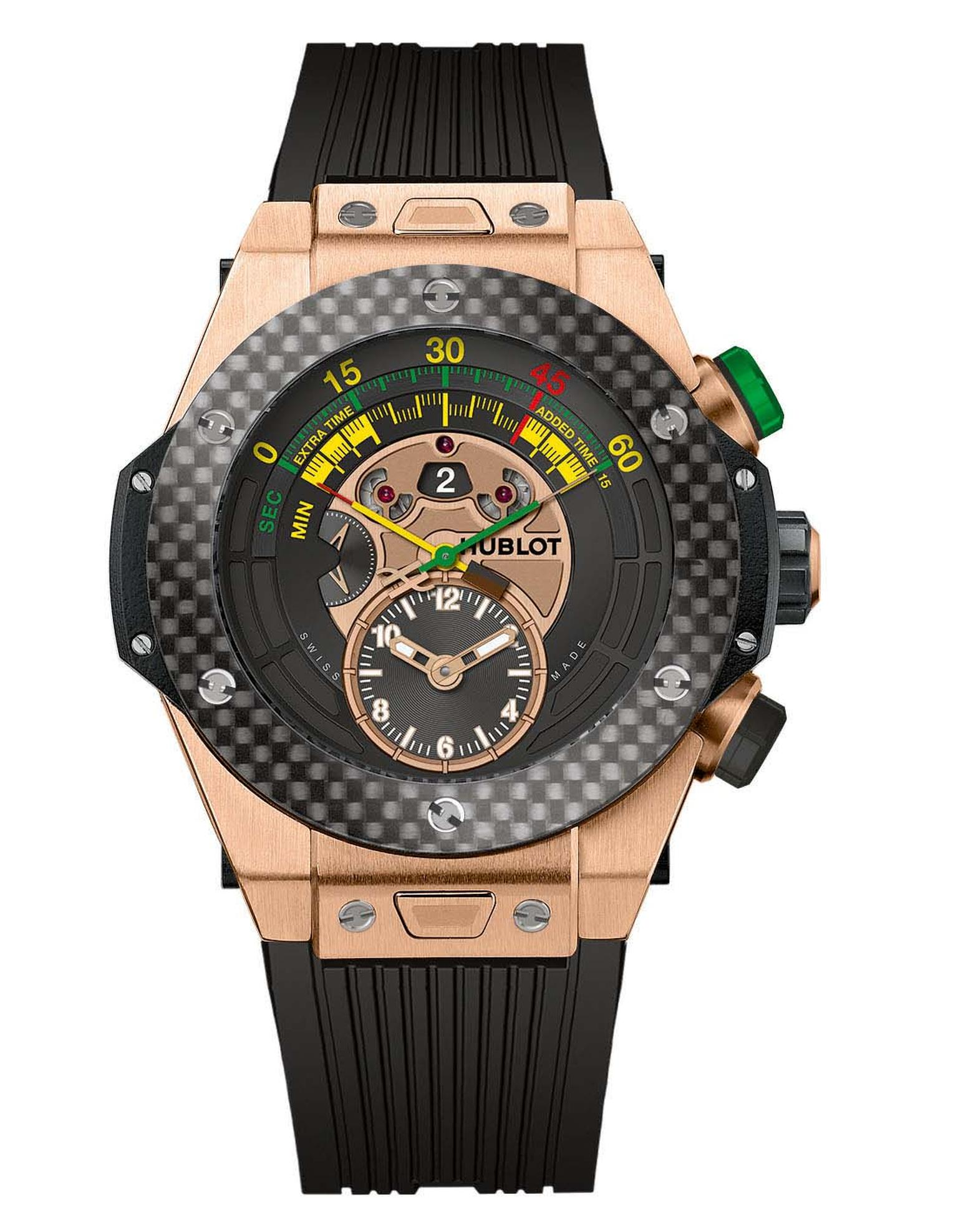 Official watch of the 2014 FIFA World Cup in Brazil, Hublot's Big Bang Unico Bi-Retrograde Chrono is available in two models, including this King Gold version with a carbon-fibre bezel, limited to 100 pieces.