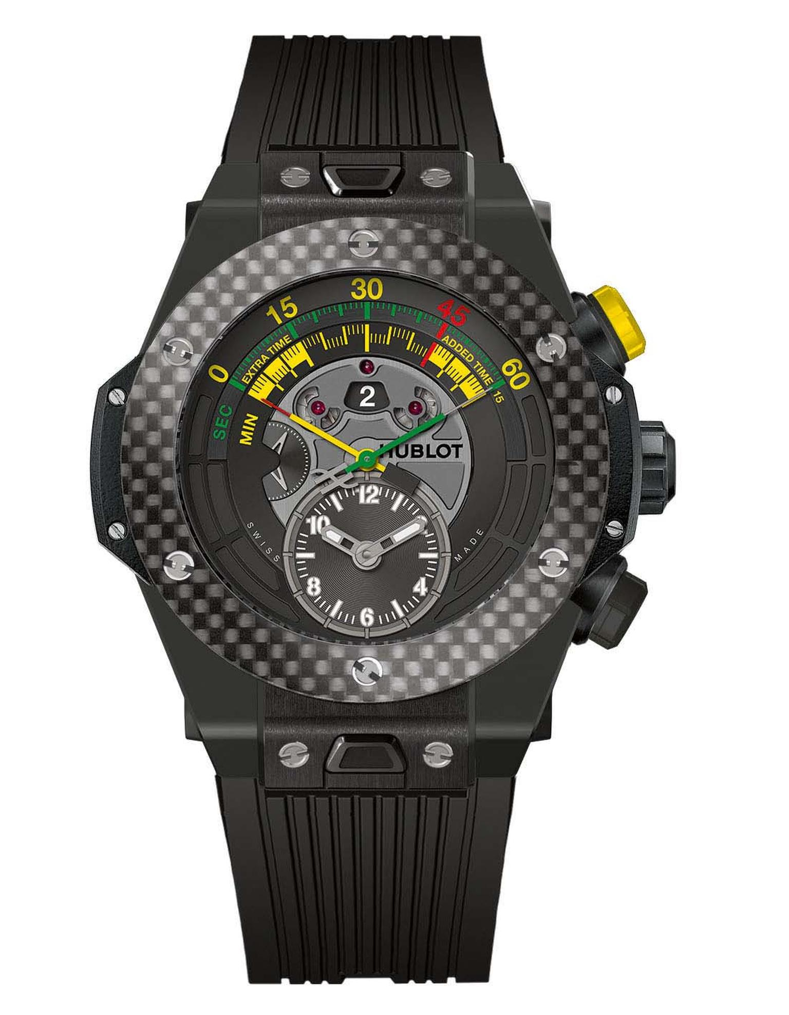 The black ceramic model of Hublot's Big Bang Unico Bi-Retrograde Chrono, the official watch of the 2014 Fifa World Cup in Brazil, with a carbon-fibre bezel, limited to 200 pieces.