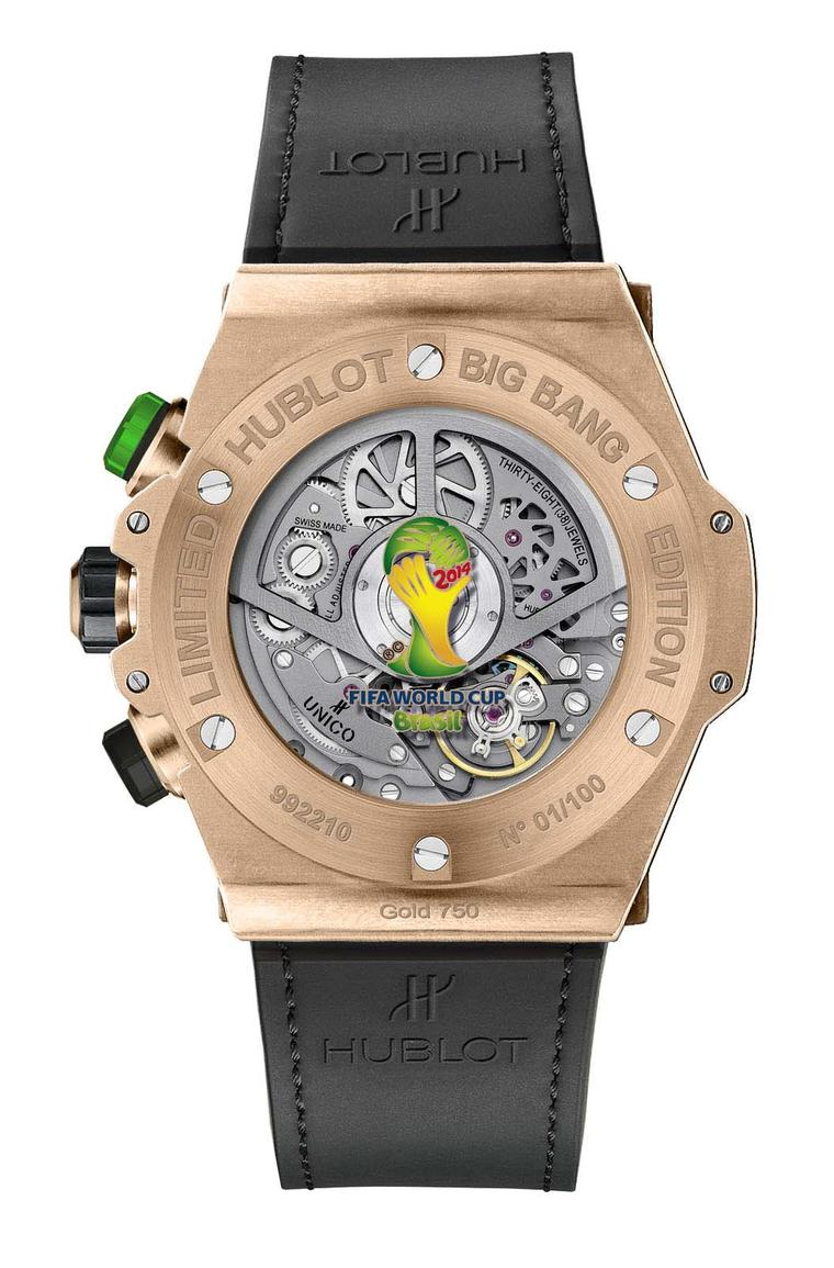 The reverse of the King Gold model of Hublot's Big Bang Unico Bi-Retrograde Chrono watch, decorated with the World Cup trophy on the reverse.