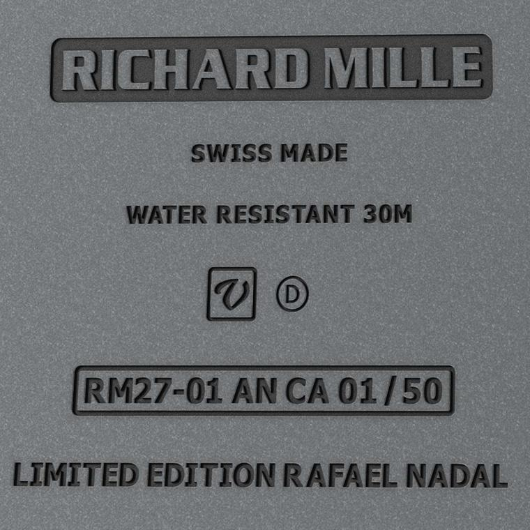 The reverse of the Richard Mille RM 27-01, marked a limited-edition Rafael Nadal watch.