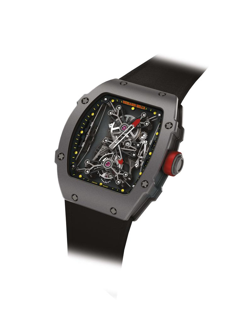 The Richard Mille RM 27-01 Tourbillon Rafael Nadal watch, launched in 2013, is the tennis star's watch of choice on court. Limited to 50 pieces, it is made from an extremely strong anthracite polymer injected with carbon nanotubes, which offers the ultima