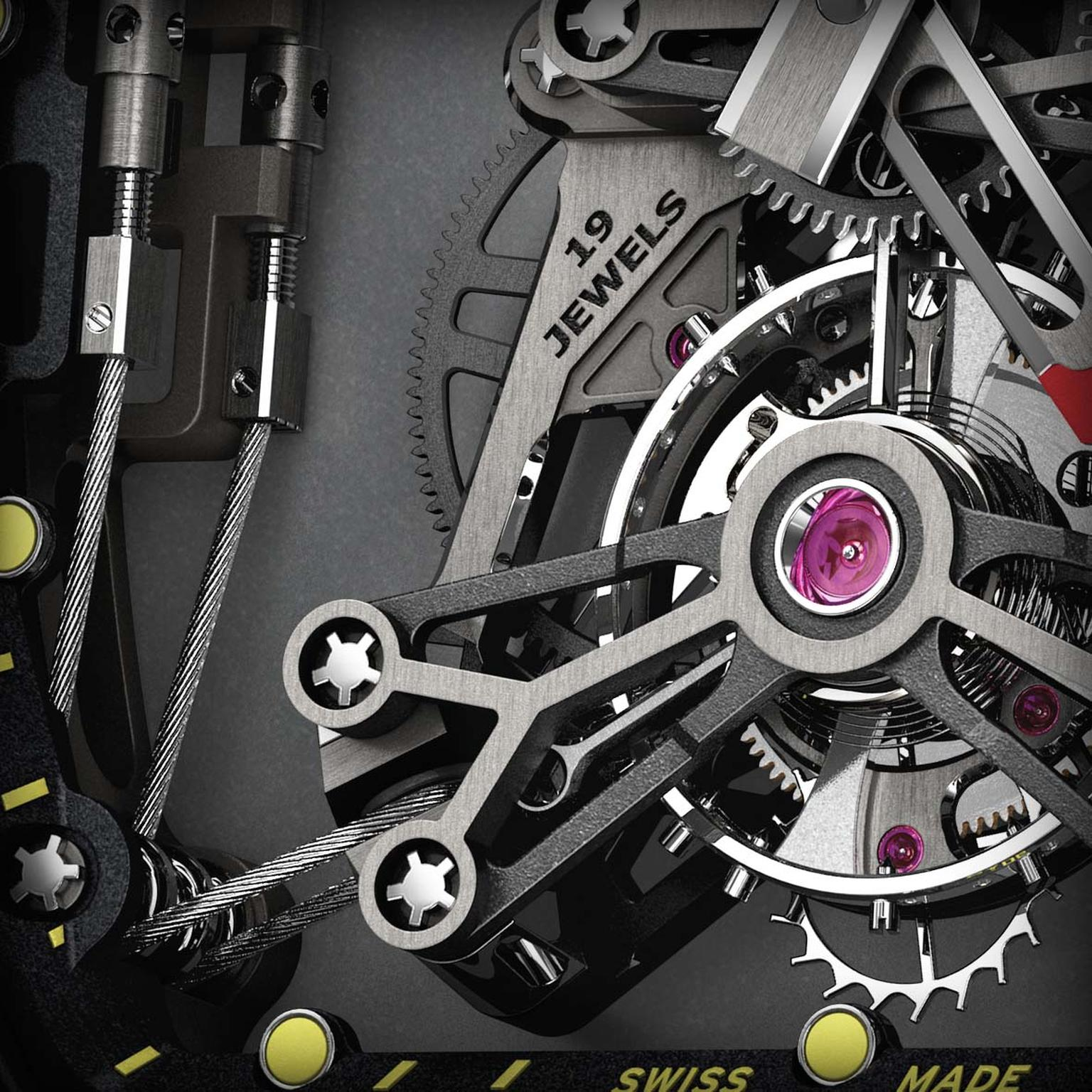 The movement of the Richard Mille RM 27-01 Tourbillon Rafael Nadal watch is made of titanium and LITAL®, a lithium alloy used in aerospace engineering and Formula 1 that provides more flexibility and greater shock resistance.