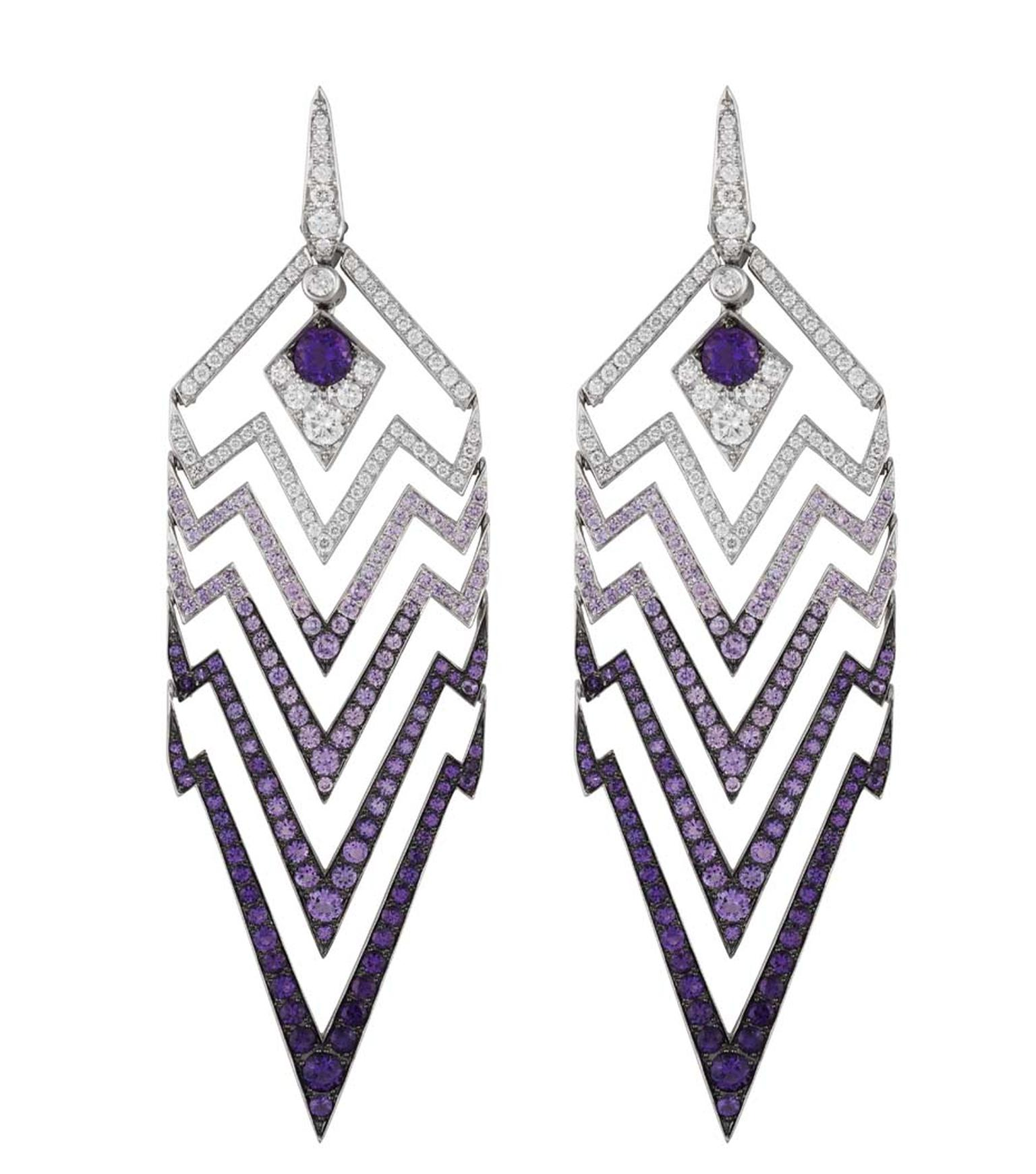 Stephen Webster Lady Stardust white gold earrings with white diamonds and amethysts.