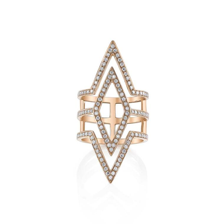Anita Ko Triangle ring in rose gold and diamonds.