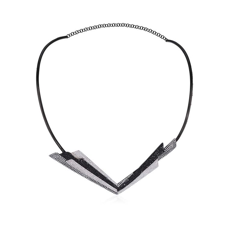 AS29 Bowie necklace with black and white diamonds.